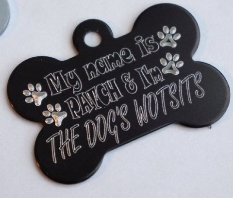 FUNNY DOG TAG PERSONALISED ENGRAVED THE DOG'S WOTSITS BONE DOG ID TAG 32/38MM